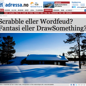 """Scrabble eller Wordfeud? Fantasi eller DrawSomething?"" Adresseavisen, 01.04.2012"